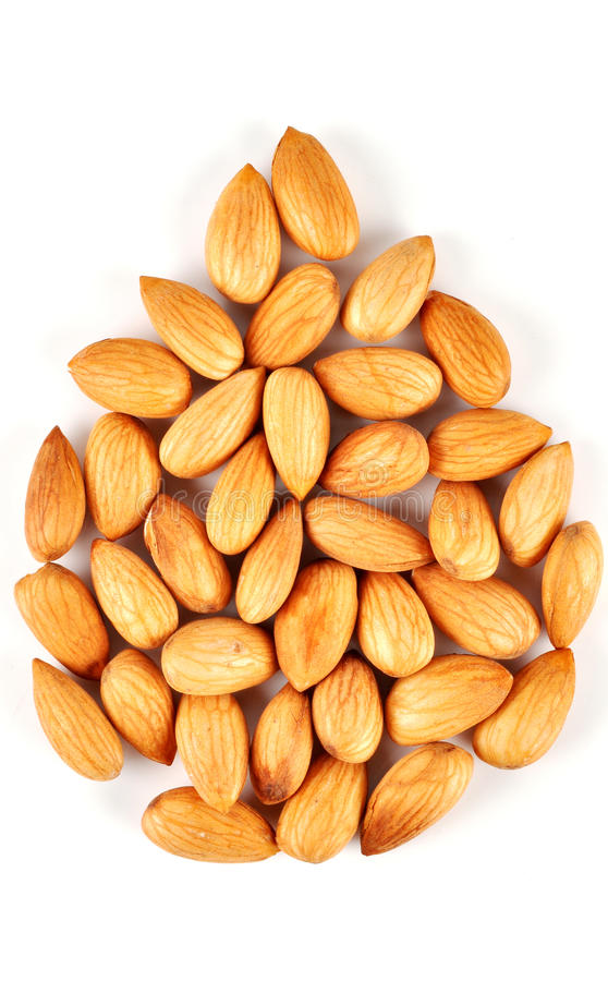 Almonds. On the with isolated background stock images