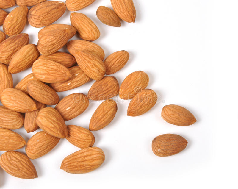 Almonds. On the white background stock images