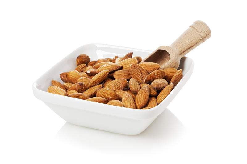 Download Almonds in a bowl stock photo. Image of white, square - 30866910