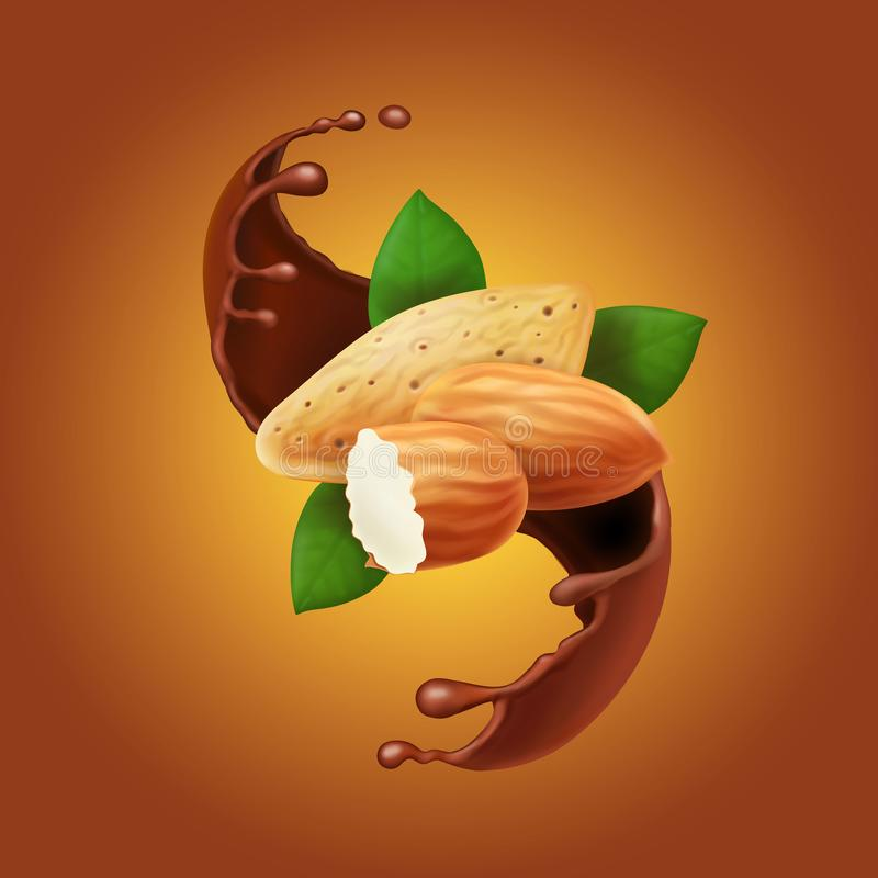 Almonds in chocolate splash. Cocoa flow and nuts realistic Vector illustration.  stock illustration