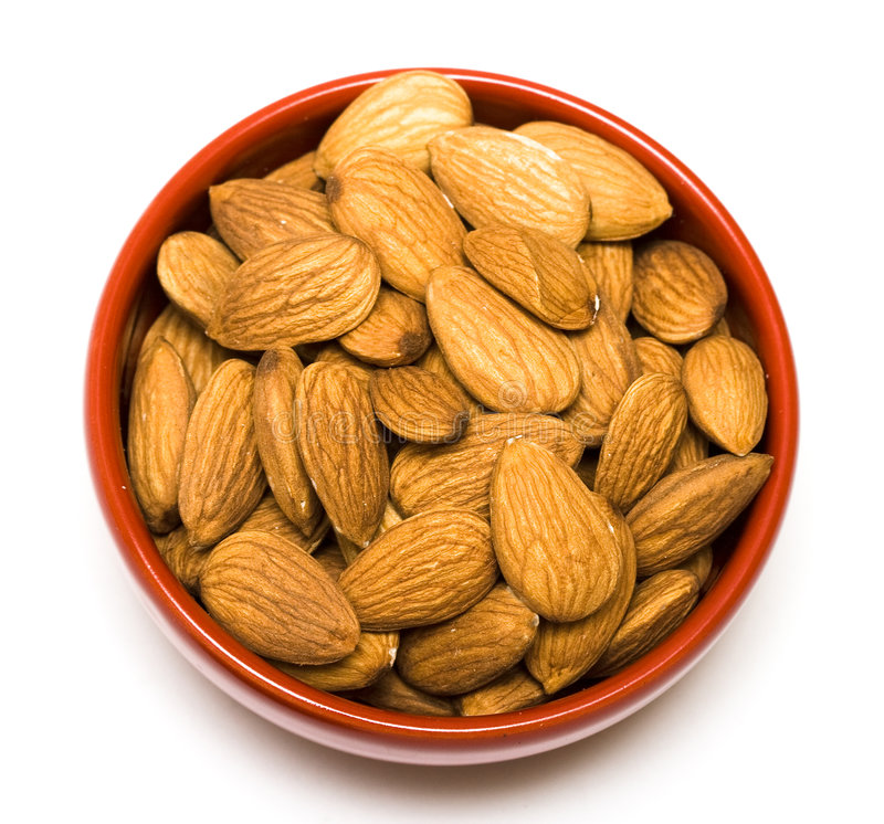 Free Almonds In Red Dish Stock Photos - 8104083