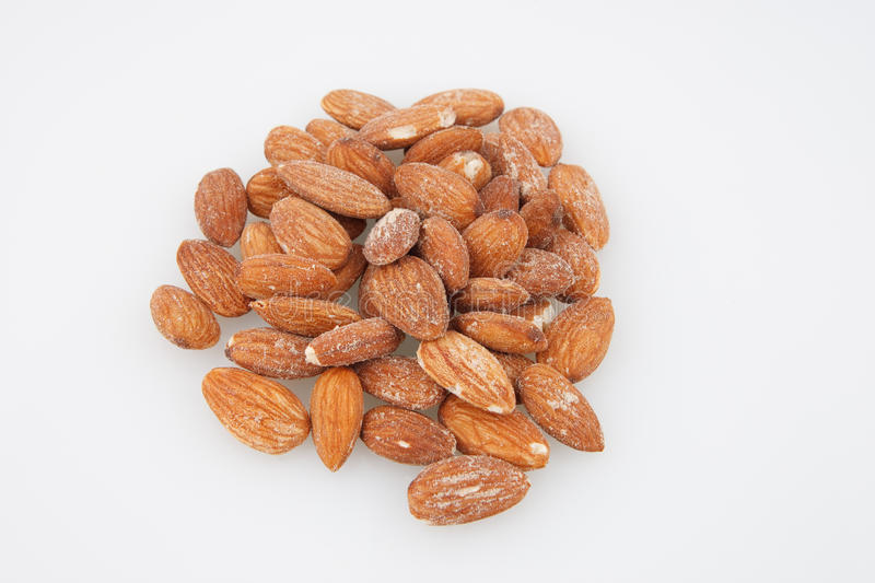 Almonds isolated on white stock photography