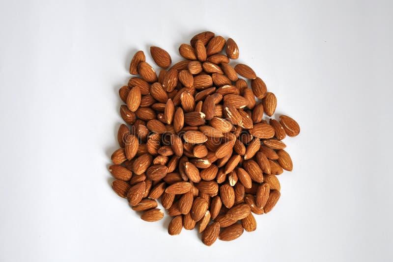 Almonds on white background stock image