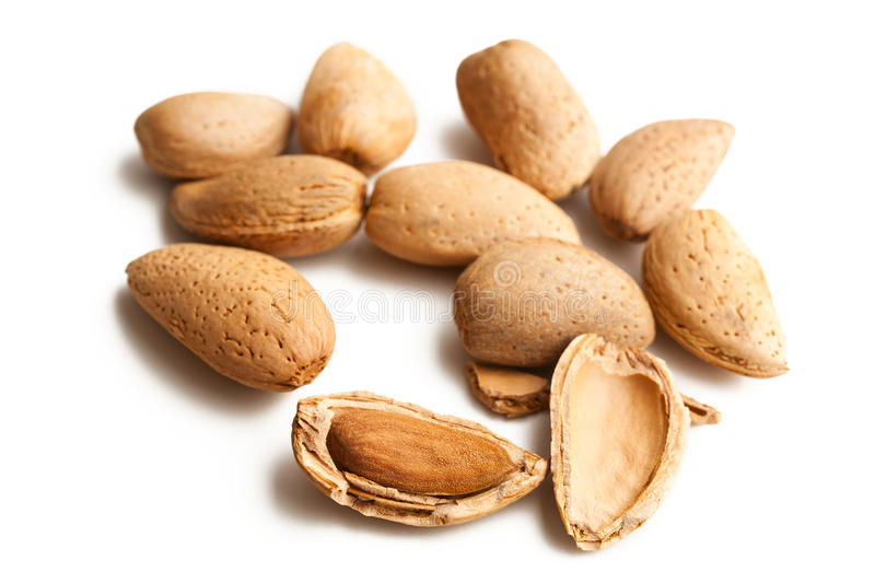 Almonds In Nutshell Royalty Free Stock Photos