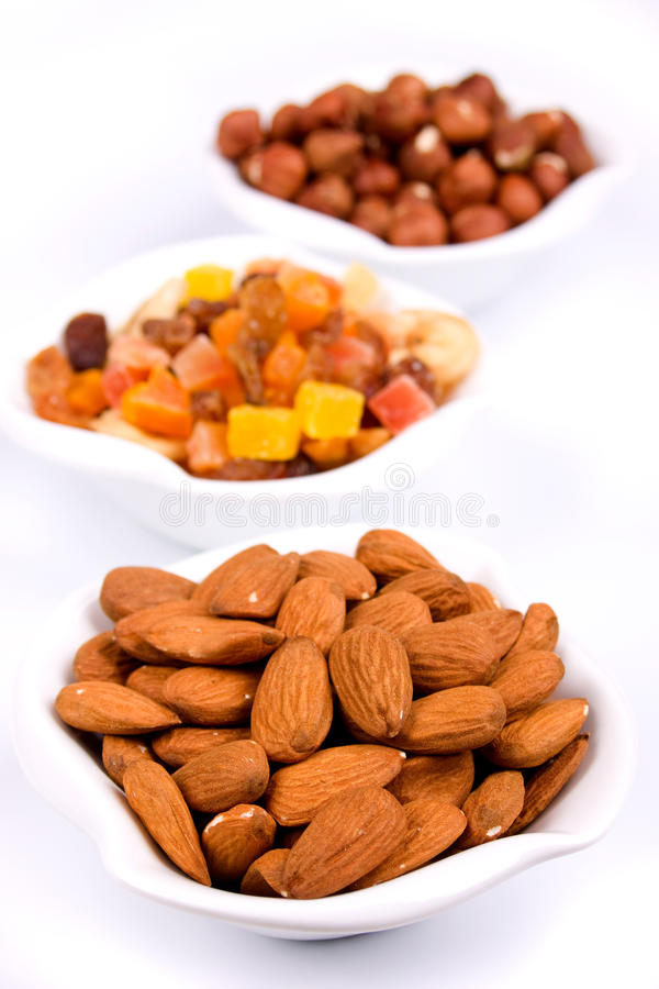 Almonds and other healthy snacks stock image