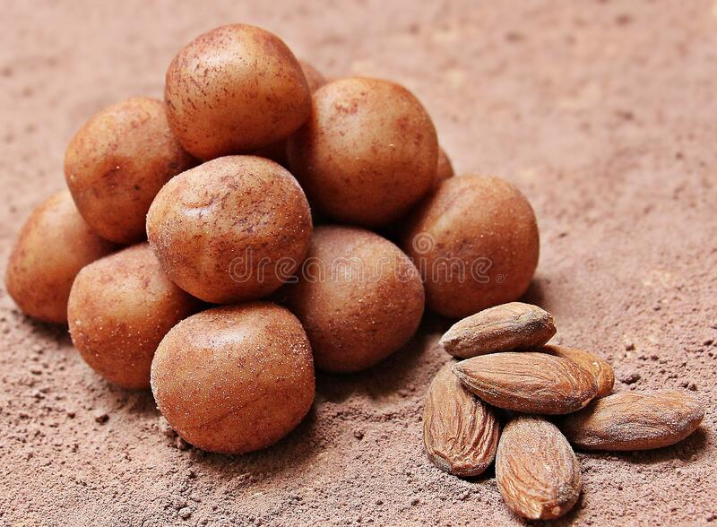 Almonds and potatoes royalty free stock photography