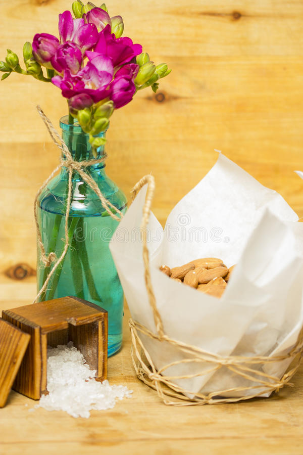 Almonds with salt stock images