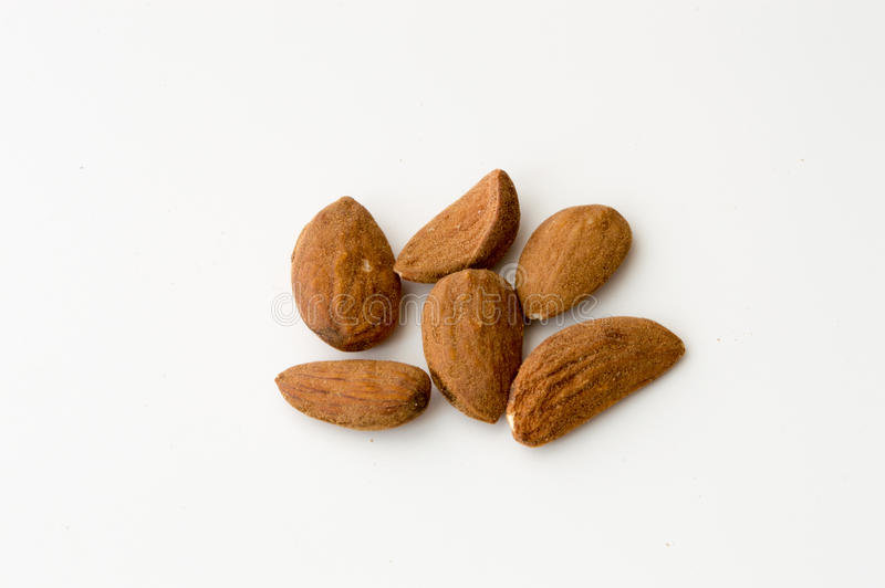 Almonds on a White Backgound. Top View of Almonds on a White Backgound stock photo