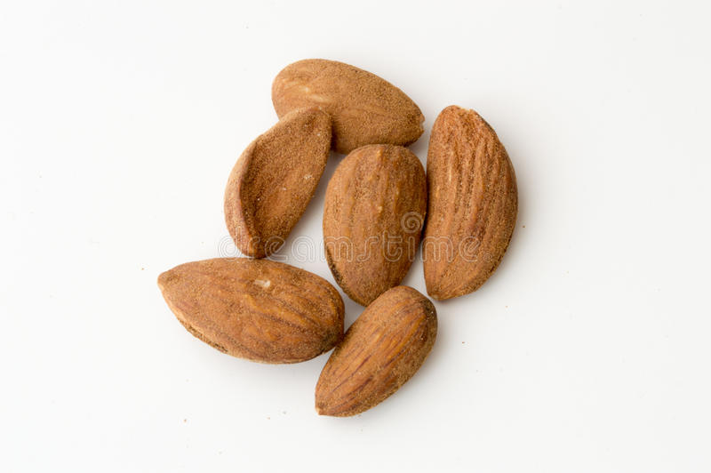 Almonds on a White Backgound. Top View of Almonds on a White Backgound royalty free stock photography