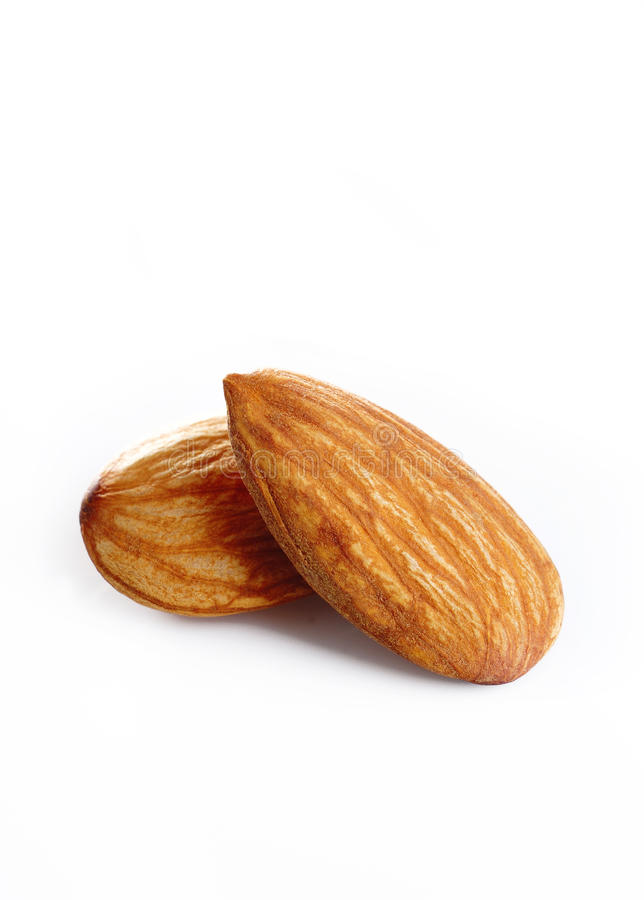 Almonds on a white stock image