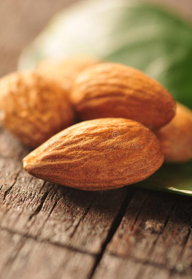 Free Almonds With Leaf Stock Image - 25522621
