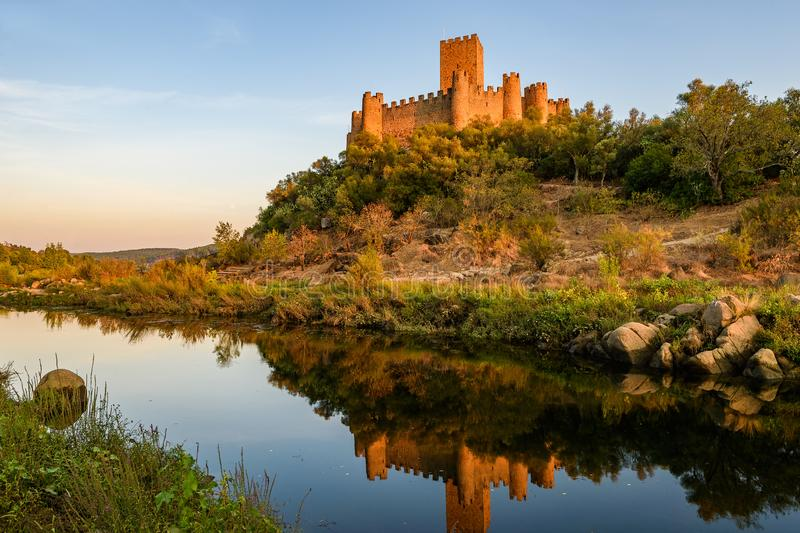 Almourol castle at sunset stock image