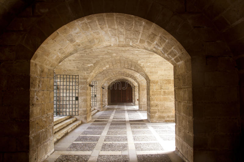 Almudaina and Majorca Cathedral tunnel royalty free stock images