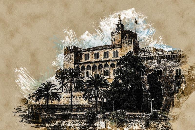 Almudaina palace vector illustration