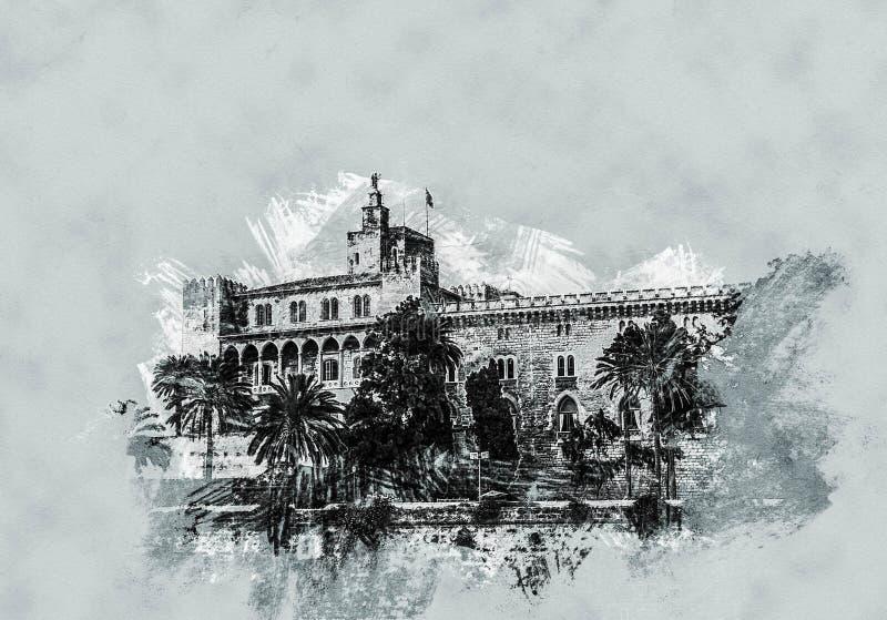 Almudaina palace royalty free illustration