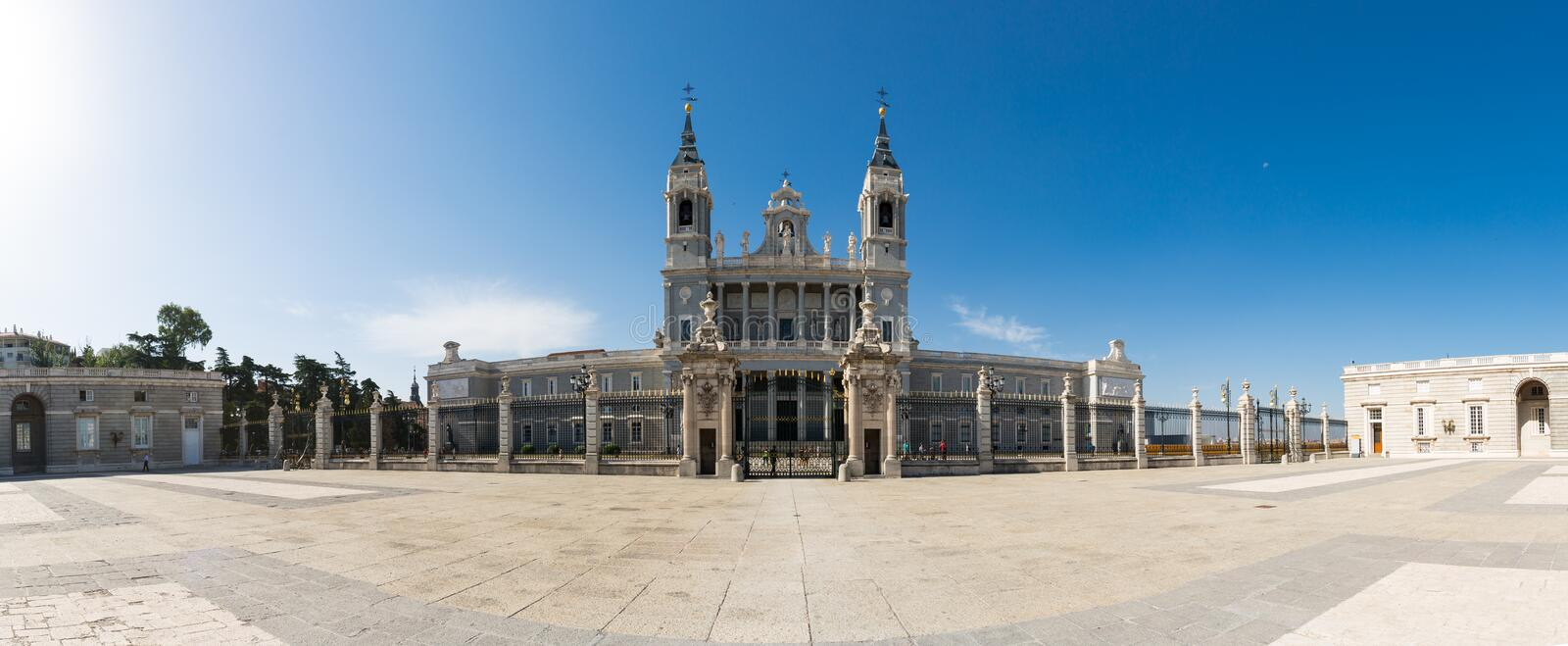 Almudena Cathedral - External view. The Almudena Cathedral is the cathedral of Madrid, Spain, and is a modern building concluded in 1993. It is one of the royalty free stock photo