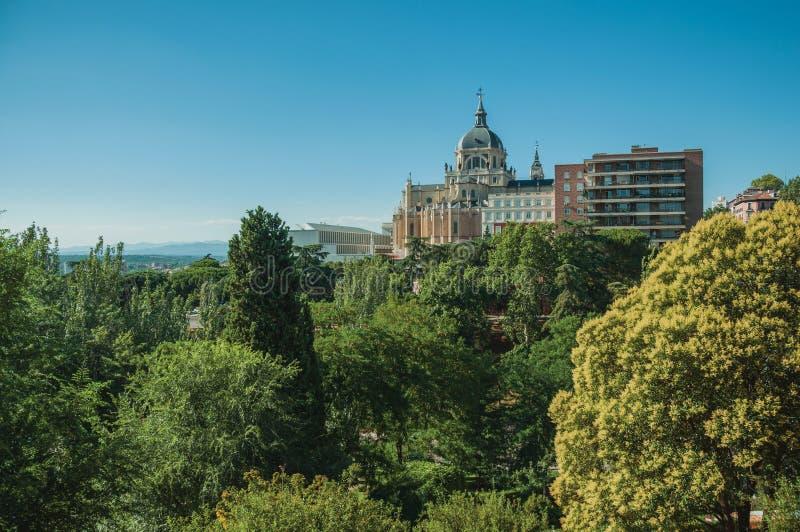 Almudena Cathedral Dome parmi des arbres et des logements à Madrid photographie stock