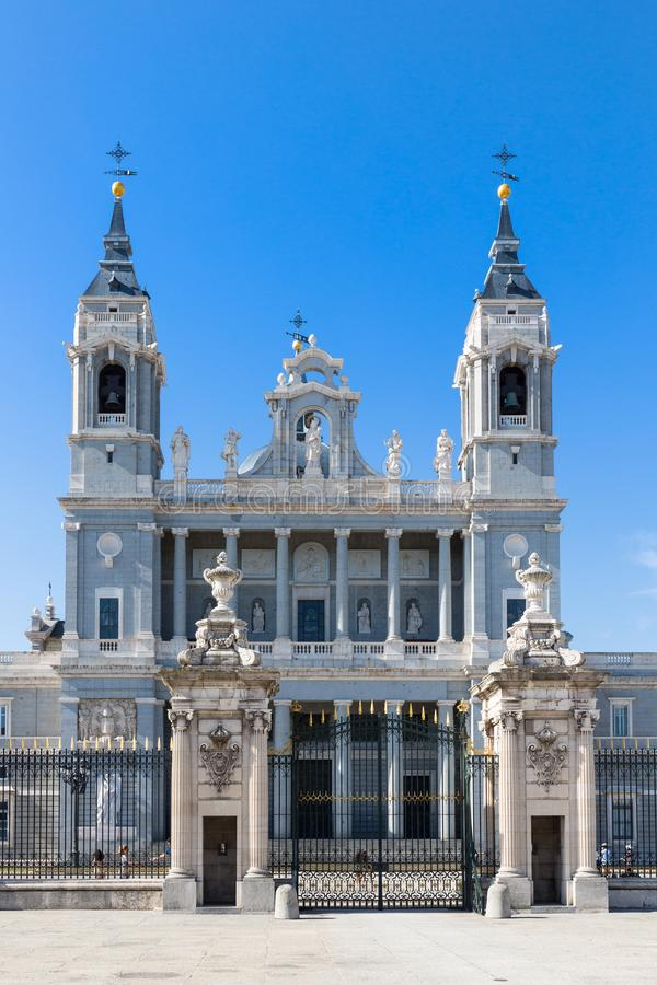 Almudena Cathedral - External view. The Almudena Cathedral is the cathedral of Madrid, Spain, and is a modern building concluded in 1993. It is one of the stock photos