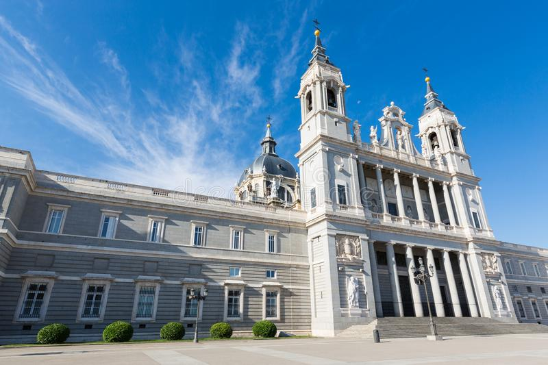 Almudena Cathedral - External view. The Almudena Cathedral is the cathedral of Madrid, Spain, and is a modern building concluded in 1993. It is one of the stock image