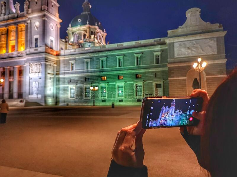 Almudena cathedral in madrid stock photos