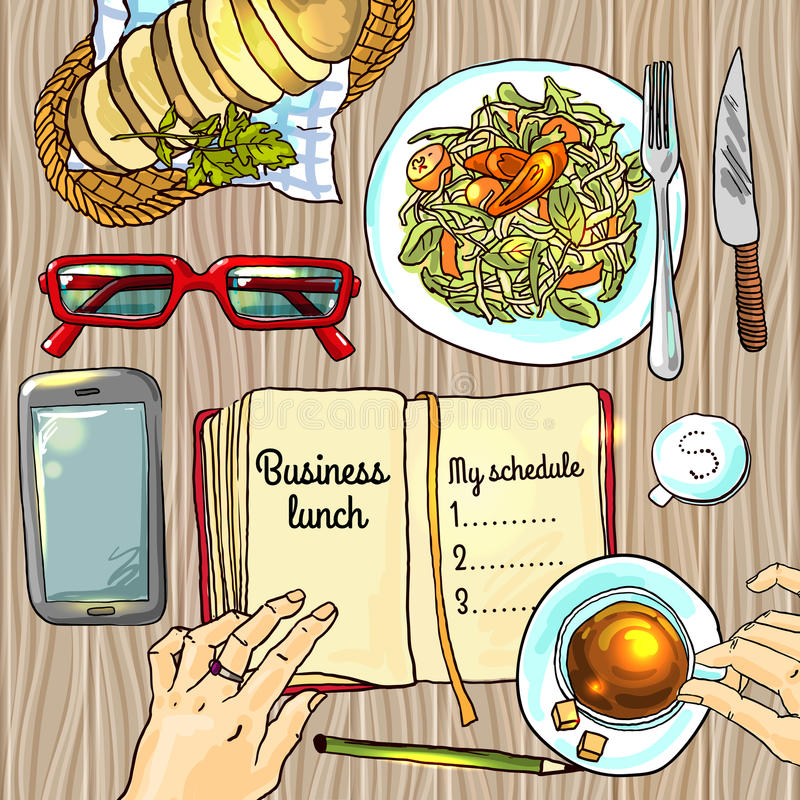Almuerzo de asunto stock de ilustración