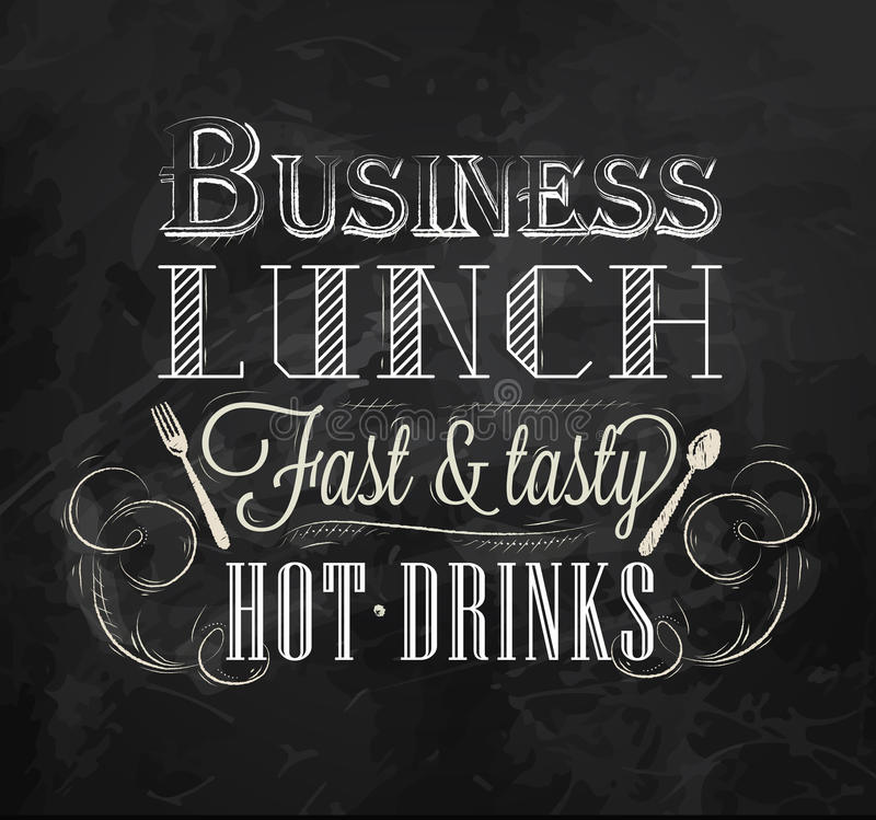 Almuerzo de negocios del cartel. Tiza. libre illustration