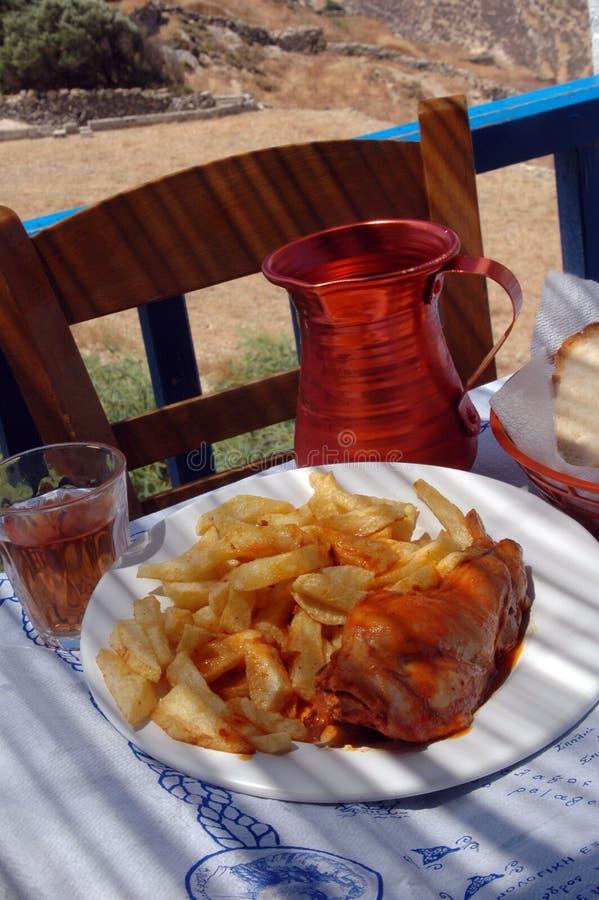 Almuerzo griego del taverna imagenes de archivo