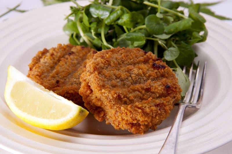 Almuerzo ligero del fishcake. fotografía de archivo libre de regalías