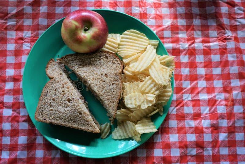 Almuerzo simple de la comida campestre en un mantel rojo y blanco foto de archivo libre de regalías