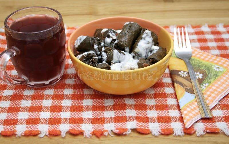 Almuerzo tradicional de las bolas de masa hervida imagen de archivo
