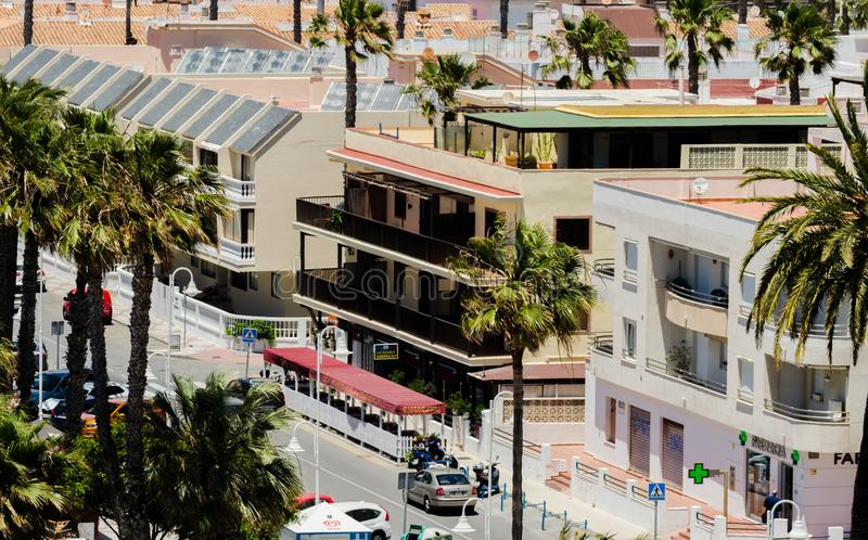 ALMUNECAR, SPAIN - JUNE 8, 2018 View of the tourist town of Almunecar on the Costa Tropical in Spain. ALMUNECAR, SPAIN - JUNE 8, 2018 Landscape of the famous royalty free stock photography