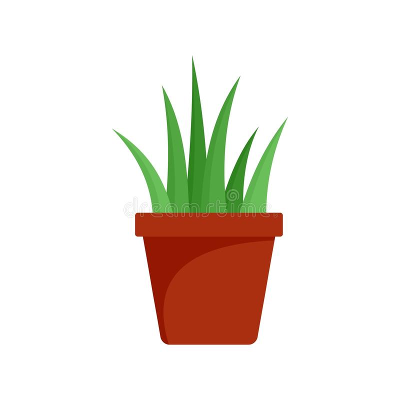 Aloe Βέρα στο εικονίδιο δοχείων, επίπεδο ύφος απεικόνιση αποθεμάτων