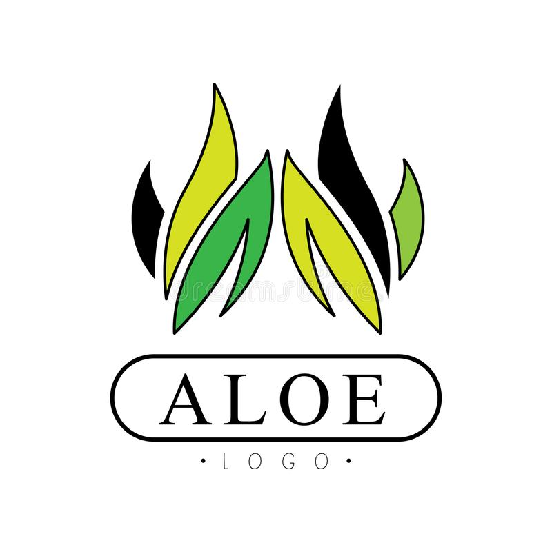 Aloe logo, natural product badge, beauty and cosmetics green label vector Illustration on a white background. Aloe logo, natural product badge, beauty and royalty free illustration