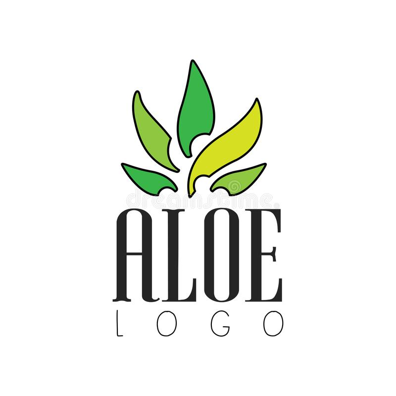 Aloe logo, natural product badge, organic cosmetics and health care label vector Illustration on a white background. Aloe logo, natural product badge, organic stock illustration