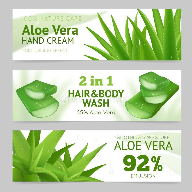 Aloe orizzontale Vera Banners royalty illustrazione gratis