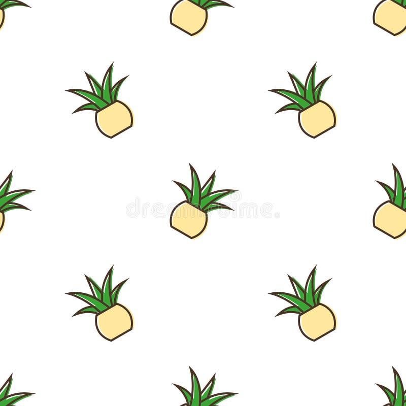 Aloe Pineapple Vector Seamless Pattern royalty free stock photography