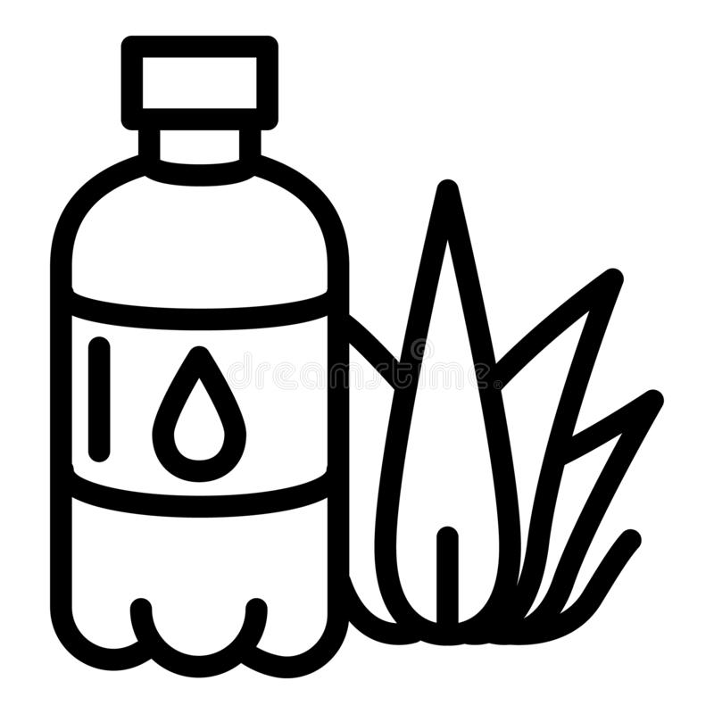 Aloe plastic bottle icon, outline style vector illustration