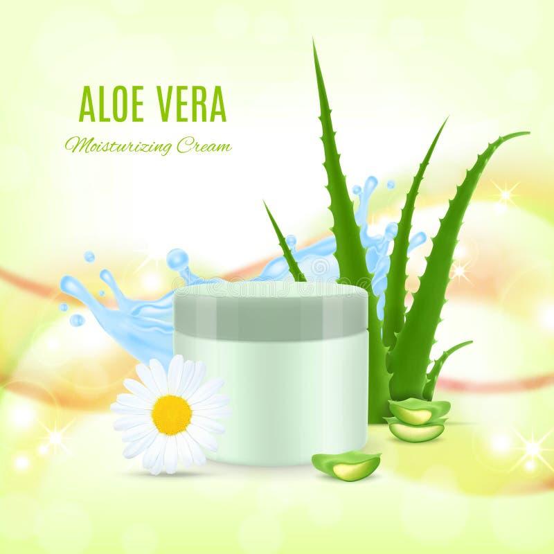 Aloe som fuktar kräm stock illustrationer