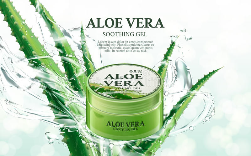Aloe soothing gel. Aloe vera soothing gel, contained in green jar, with aloe and splash elements, 3d illustration royalty free illustration