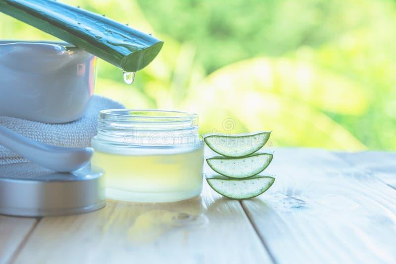 Aloe-Vera-ätherisches Öl auf Naturhintergrund Frische Aloe Vera lizenzfreies stockfoto