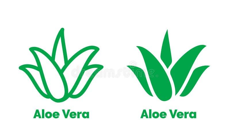 Aloe-Vera-Aufklebergrünblatt-Vektorikone lizenzfreie abbildung