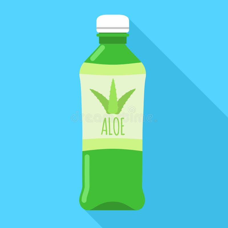 Aloe vera bottle icon, flat style vector illustration