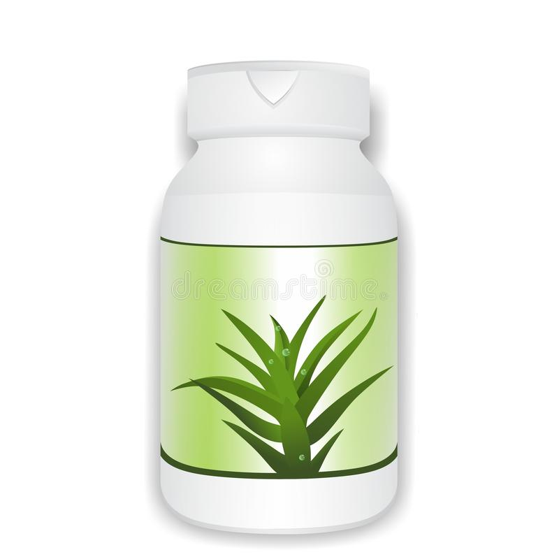 Aloe vera bottle royalty free illustration