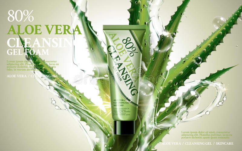 Aloe vera cleansing foam. Contained in green tube, with aloe and water flow elements, 3d illustration stock illustration