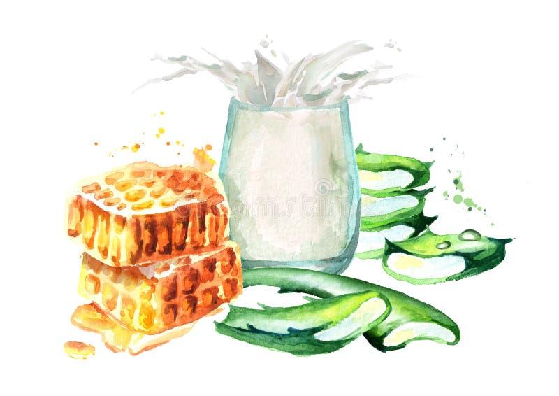 Aloe Vera con miele e bicchiere di latte Illustrazione disegnata a mano dell'acquerello illustrazione di stock