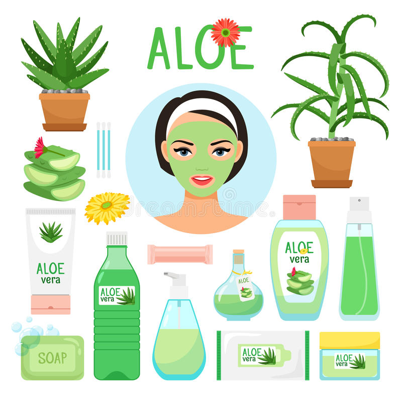 Aloe vera cosmetic products. Aloe fresh juice, leaf and flowers, collagen mask, spa gel and wet beauty cream cosmetology vector icons stock illustration