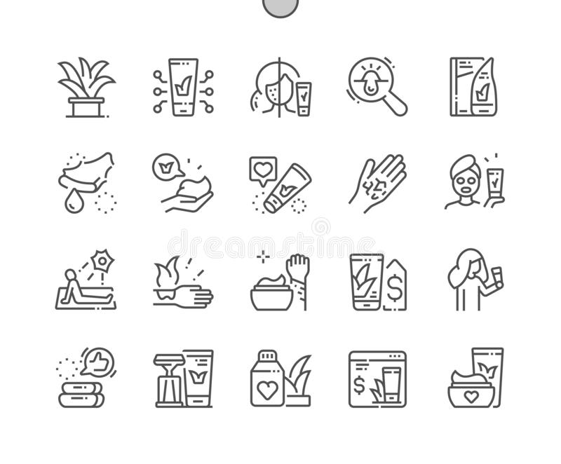Aloe Vera cosmetics Well-crafted Thin Line Icons. Aloe Vera cosmetics Well-crafted Pixel Perfect Vector Thin Line Icons 30 2x Grid for Web Graphics and Apps stock illustration