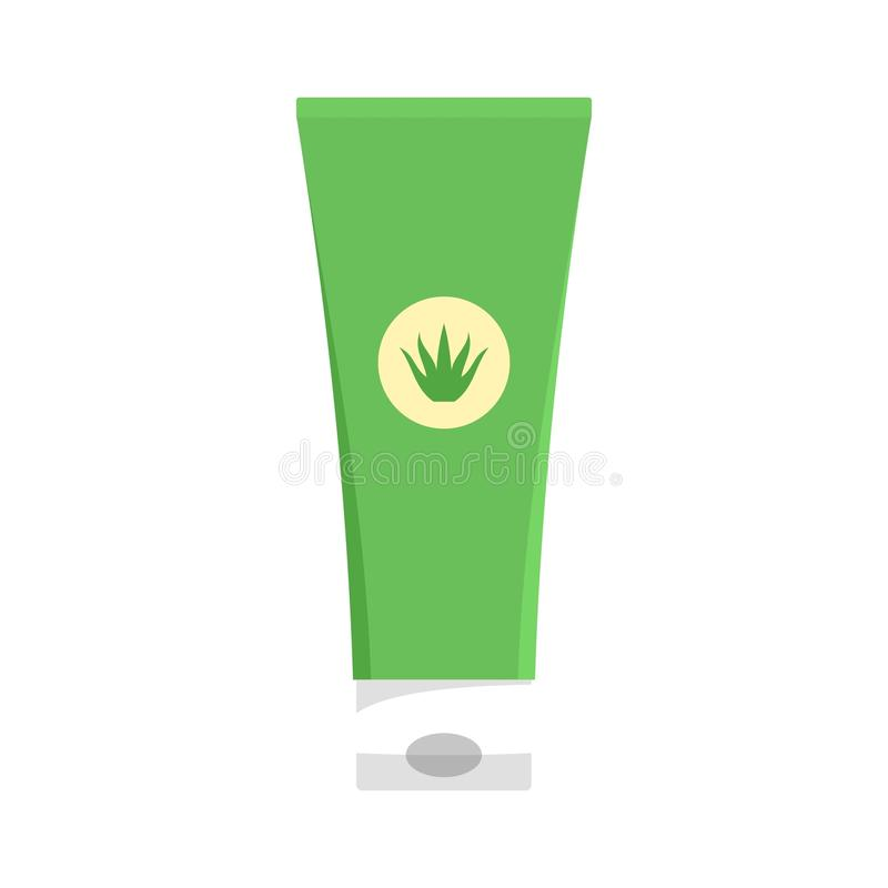 Aloe vera creme tube icon, flat style. Aloe vera creme tube icon. Flat illustration of aloe vera creme tube vector icon for web isolated on white royalty free illustration