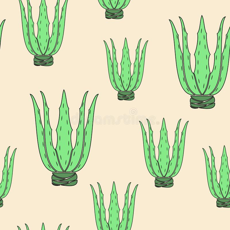 Aloe vera flower pot on yellow background. Graphic image. Nice picture. Gift wrap. Vector illustration royalty free illustration