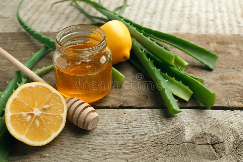 Aloe Vera, fresh lemon and honey. Natural facial, skin and hair care recipe. royalty free stock photography